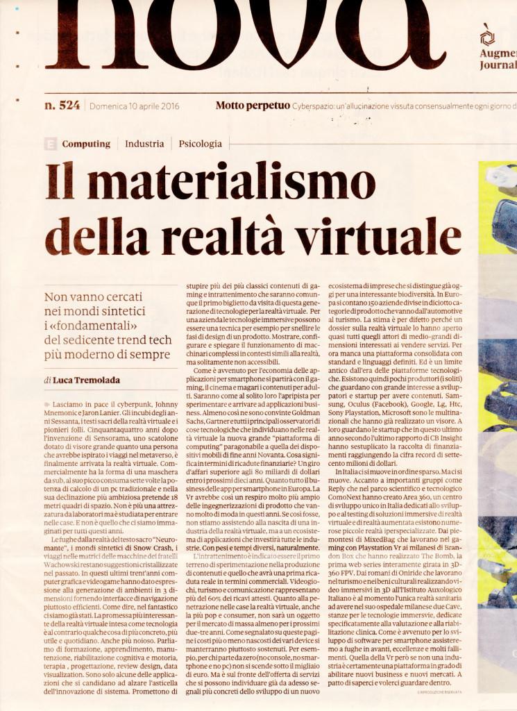 nova24 realtà virtuale Realtà virtuale su Nova 24