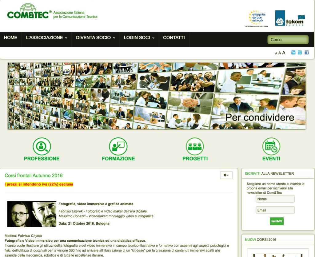 Vai alla pagina Com&Tec dedicata ai corsi autunnali.