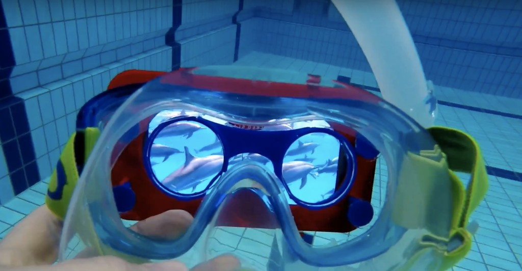 nuota con deflini con video vr 360 realtà virtuale film