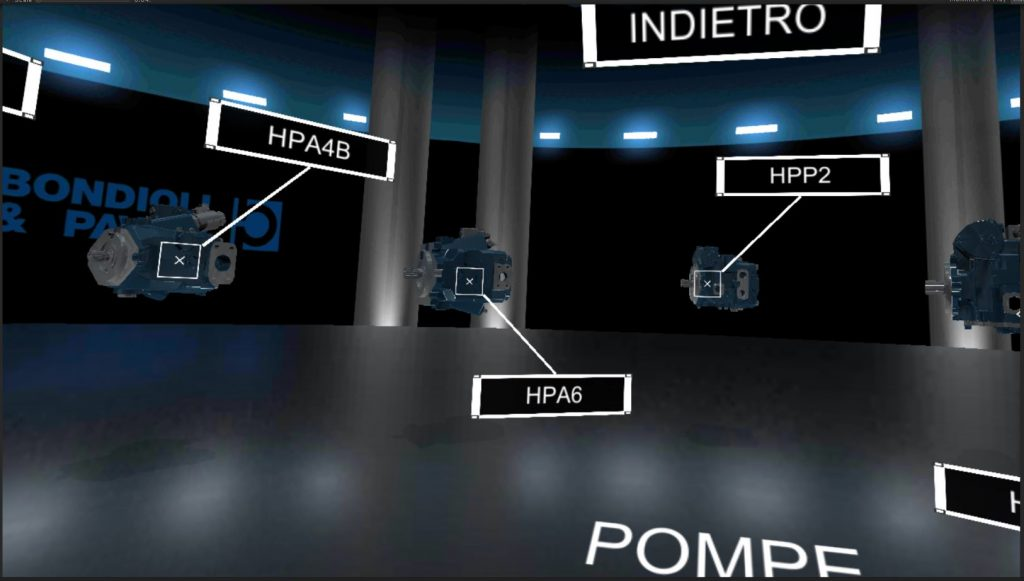 virtual reality application for the new Bondioli & Pavesi catalog